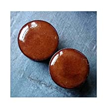 Pair - Rustic Red Dipped Glass Ear Plugs Organic Handmade double-flared gauges Essential Oil Diffuser