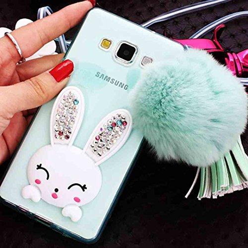 - Galaxy J7 3D Rabbit Kickstand Case, OMORRO New Luxury Manual Shiny Glitter Diamond Ear Funny Flurry Tail Hair Ball Pendant Charm Tassel [Hanging Sling] Case for Samsung Galaxy J700 Green