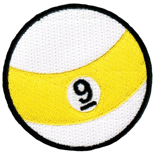 Nine Ball Embroidered Billiards Patch 9-Ball Pool Iron-On Emblem (Diameter Snooker Ball)