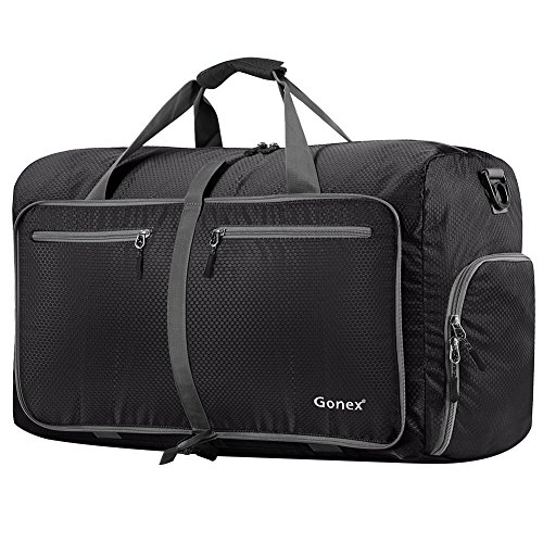 Gonex 80L Packable Travel Duffle Bag, Large Lightweight Luggage Duffel (Black)