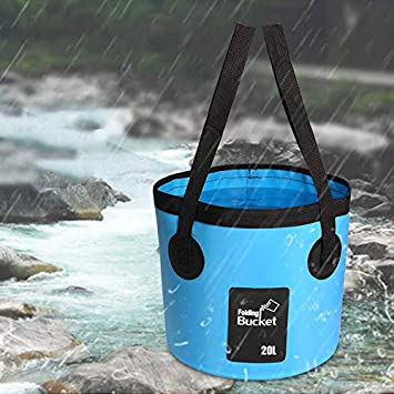 MIGHTYDUTY Portable Folding Bucket Outdoor Camping Collapsible Bucket 20L Water Storage Container,Wash Basin for Traveling Hiking Fishing,Lightweight /& Durable