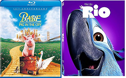 Dreamworks Rio & Babe Pig on the City Movie Blu Ray Animated Bundle Cartoons Family movie Set