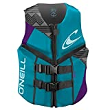 O'Neill Wetsuits Wake Waterski Womens Reactor USCG Life Vest, Turquoise/UV/Black, 8 by O'Neill