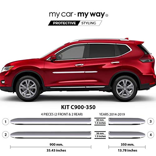 MY CAR MY WAY (Fits) Nissan Rogue SUV 2014-2019 Chrome Body Side Molding Cover Trim Door Protector