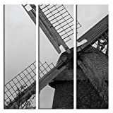 JP London 3 Panels At 16in by 48in Triptych 3 Huge Gallery Wrap Canvas Wall Art Natural Windmill Power At Overall 4 4 Feet LTCNV2033, Extra Large