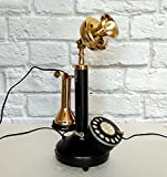 Decorative Shinny Brass Antique Reproduction Rotary Dial Candlestick Telephone