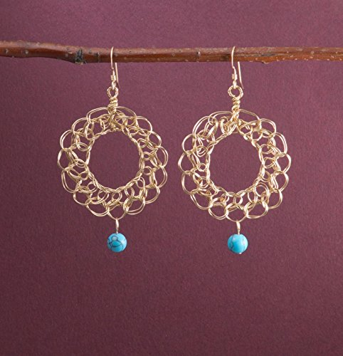 14k Gold Filled Filigree Earrings with Simulated Turquoise Handmade Lace Wire Crochet Jewelry (Marcasite Lace)