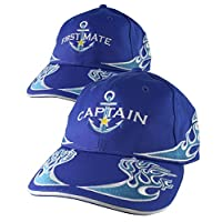 Nautical Star Blue Anchor Captain + First Mate Embroidery 2 Adjustable Royal Blue Structured Flames Baseball Caps +Personalize Back Option