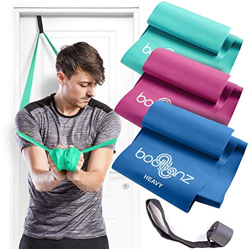 Bodbanz Resistance Bands Set of 3 Non Latex Elastic Bands with Door Anchor for Upper - Lower Body & Core Exercise, Physical Therapy Stretching, Pilates, at Home Workouts, Strength Training, Yoga