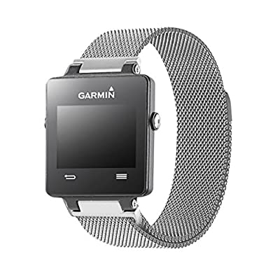 Garmin vívoactive replacement band,Oitom® Milanese loop Stailess Steel Bracelet Strap for GARMIN VIVOACTIVE Smart Fitness Watch, Black, White, Large with unique Magnet lock