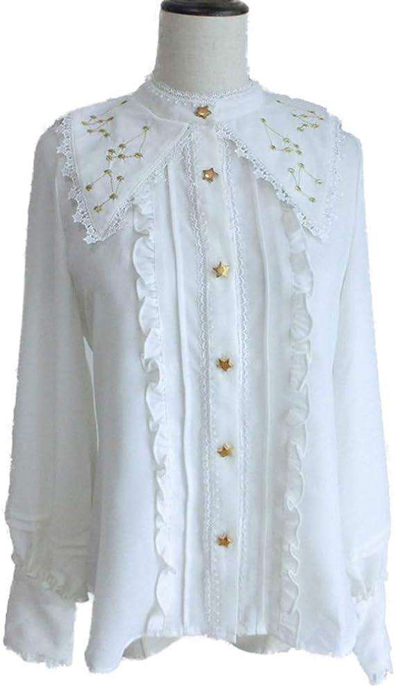 Lolita Blusa Mujer - Bordado de Constelaciones Manga Larga Gasa Camisa Blusa Victoriana Retro Collar de Mantón Blusa S-2XL: Amazon.es: Ropa y accesorios