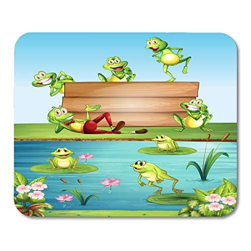 Emvency Mouse Pads Green Clip Wood Sign Many Frogs by The Pond Mouse Pad for notebooks, Desktop Computers mats 16