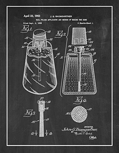 (Nail Polish Applicator Patent Print Chalkboard with Border (8
