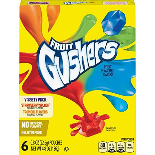 Fruit Gushers Variety Packs (Strawberry Splash & Tropical Flavours) Fruit Flavoured Snacks 4.8oz 136g