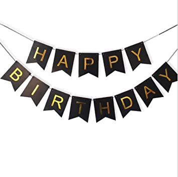 Amazon.com: Black Happy Birthday Bunting Banner with Shiny ...