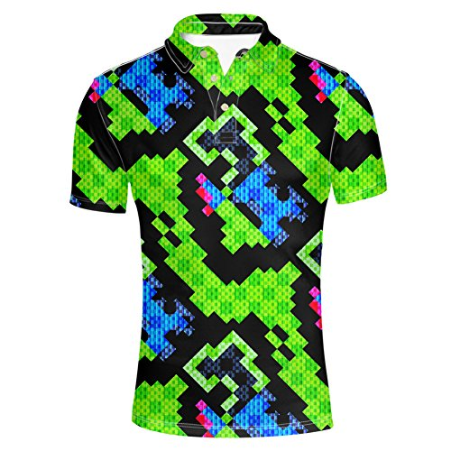 (HUGS IDEA Green and Black Casual Jersey Polos T-Shirt Tees Button Up Shirts Athletic Short Sleeve)