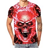 Fashion Men Skull 3D Printing Tees Casual Short Shirt Sleeve T-Shirt Blouse Tops