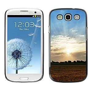 TopCaseStore / la caja del caucho duro de la cubierta de protección de la piel - Nature Field Sunset - Samsung Galaxy S3 I9300