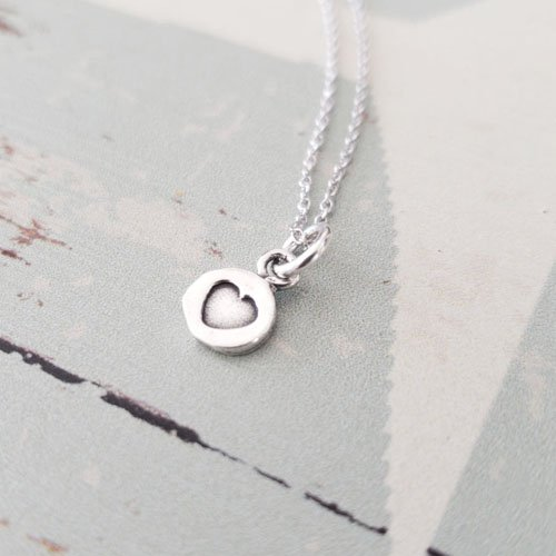 Tiny Heart Charm - Sterling Silver Tiny Disc Heart Charm Necklace