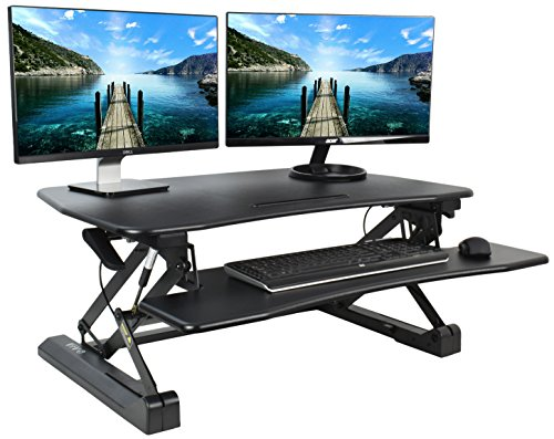VIVO Black Deluxe Height Adjustable Standing Desk 36'' Tabletop Monitor Sit to Stand Laptop Riser Removable Keyboard Tray Platform Converter (DESK-V000DB) by VIVO