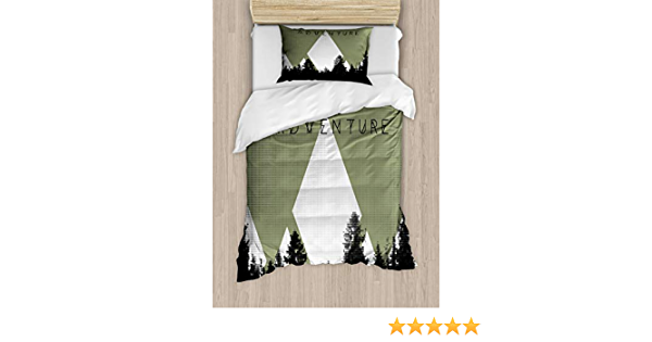 Ambesonne Adventure Duvet Cover Set Forest With Halftone Effect Hipster Typography Camping In Mountains Decorative 2 Piece Bedding Set With 1 Pillow Sham Twin Size Army Green Home Kitchen