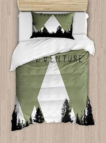 (Ambesonne Adventure Duvet Cover Set, Forest with Halftone Effect Hipster Typography Camping in Mountains, Decorative 2 Piece Bedding Set with 1 Pillow Sham, Twin Size, Army)
