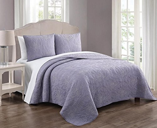 Royal Hotel Simone Queen Size Quilt, Lilac and Taupe 88x88 Inches Coverlet 3pc Set, Luxury 100% Cotton Embroidered Quilt