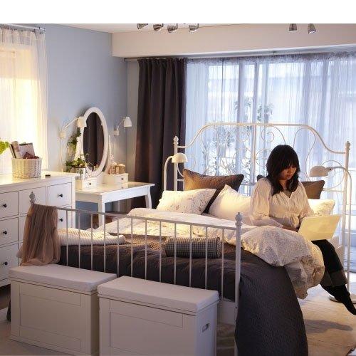 amazoncom ikea leirvik bed frame white full size iron metal country style kitchen dining - Ikea Leirvik Bed Frame