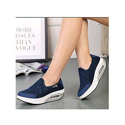 Chaussures De Toile De Mode Fond Épais Pente Glisser-sur Travailler Chaussures De Fitness Poids Léger Par Btrada Bleu Foncé
