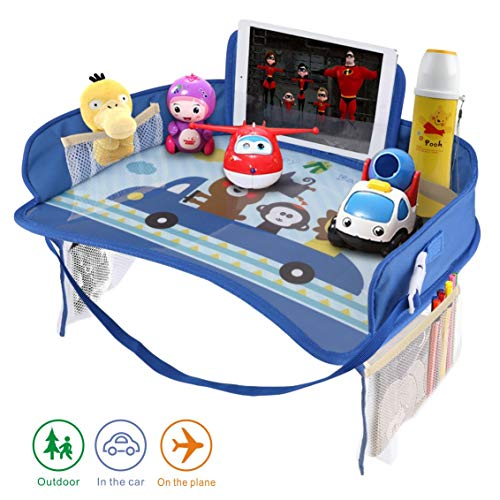 Idefair Kids Travel Tray, Car Seat Activity Snack and Play Tray for Children or Toddlers, Fun Lap Desk for Kids with Tablet, Phone & Cup Holder - Blue