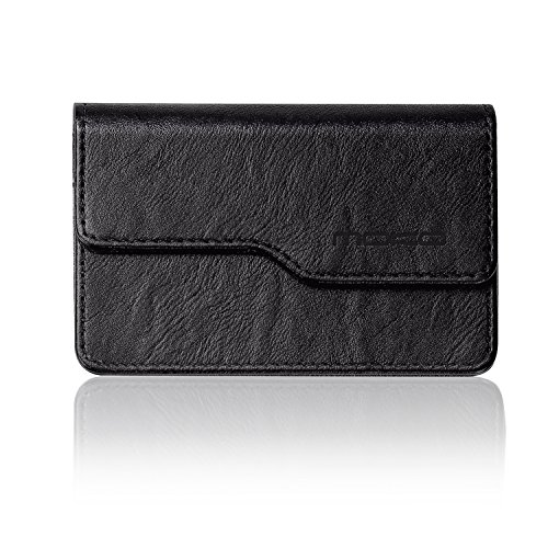 Business Card Holder ID Card Case - MoKo Premium PU Leather Universal Card Case Wallet Organizer with Magnetic Shut, Black (Flap Womens Card Holder)