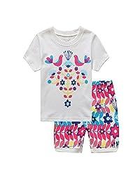 Hooyi Baby Girl Sleepwear Cotton Children Short Sleeve Bird Pajamas Set