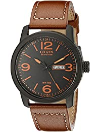 Eco-Drive Men's BM8475-26E Stainless Steel Watch with Leather Strap