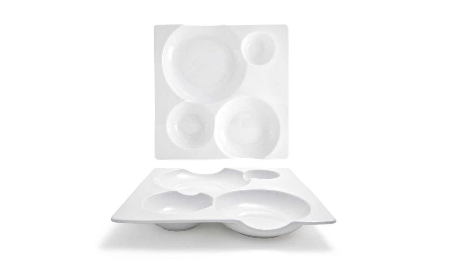 Front of the House DDP051WHP21 Harmony bento Square Plate, 1.25'' Height, 10.5'' width, 10.5'' Length, Porcelain (Pack of 4)