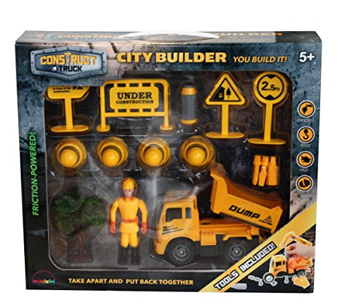 Construct a truck-city Builder set-dump。作成A City Construction Site   then take the Truck Apart & Put It Back Together + Friction Powered ( Like 3-toys-in-1。 )Award Winningセットthat encourages創造性。