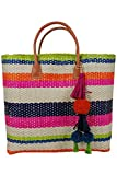 Hat Attack Striped Sisal Straw Tote Beach Bag Multi One