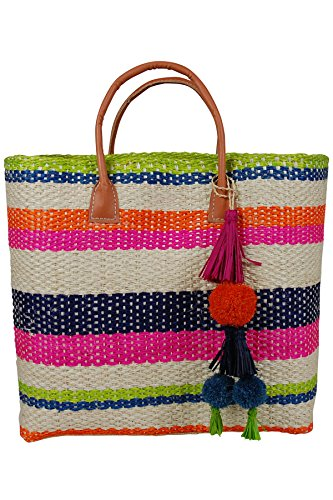 Hat Attack Striped Sisal Straw Tote Beach Bag Multi One by Hat Attack