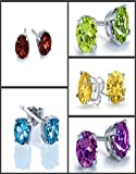 2.90ctw, 6x8mm Oval Genuine Gemstones & Solid .925 Sterling Silver Stud Earrings