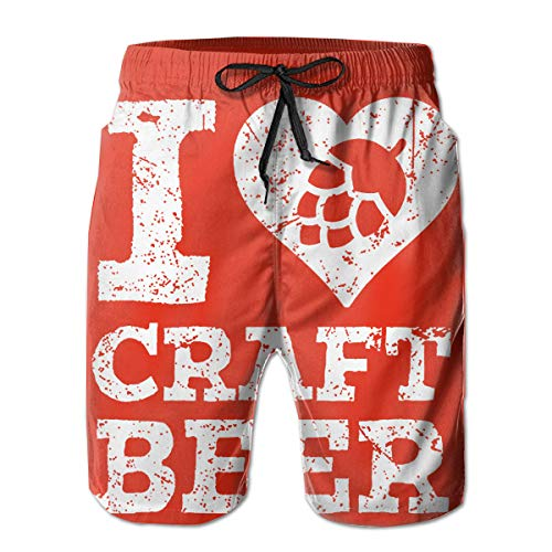 I Love Craft Beer Men's Swim Trunks Easy to Clean Men's Shorts with Side Pockets Mesh Lining M-XXL White