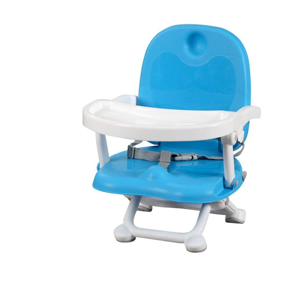 赤ちゃん ハイチェア子供 椅子 子供ディナーチェアベビーブースターシートハイチェアポータブル付きプレートテーブルトレイ送り滑り止め安全で快適な調節可能な高さ折りたたみ式送り赤ちゃん用赤ちゃん幼児子供 (色 : 青)  青 B07THT8PV6
