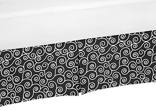 Black and White Scroll Print Crib Bed Skirt Dust Ruffle for Girls Kaylee Collection Baby Bedding - Collection Kaylee