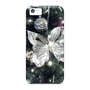 New Premium Casecover88 Silver Christmas Butterfly Skin Cases Covers Excellent Fitted For Iphone 5c