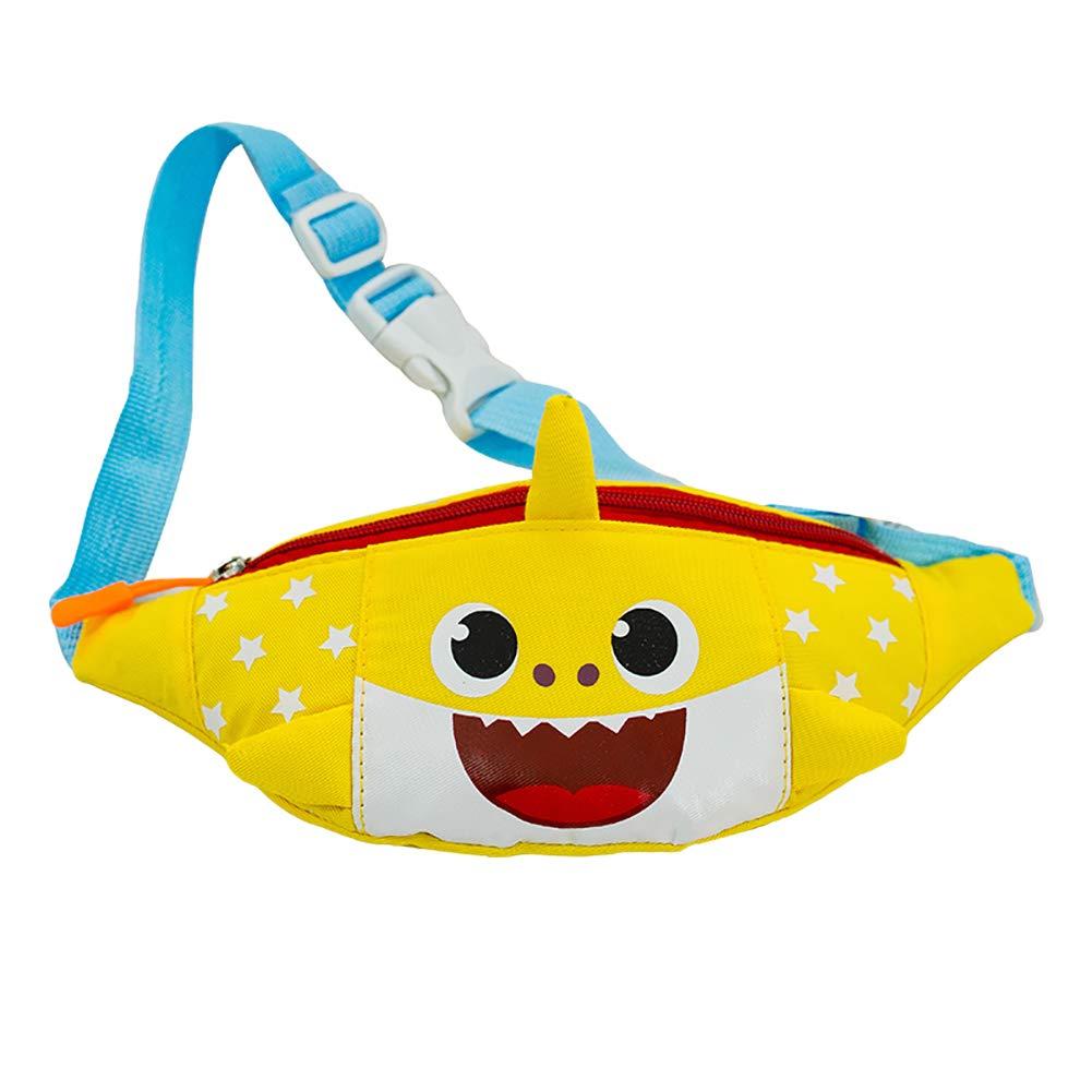 eroute66 Lovely Cartoon Shark Canvas Waist Bag Adjustable Strap Kids Crossbody Pouch - Yellow