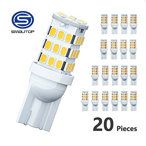 Smautop RV Trailer T10 LED Light Bulbs 921 194 168 2825 42-SMD 12V Backup Reverse LED Warm White Lights Bulbs Pack of 20 - 1 Year Warranty
