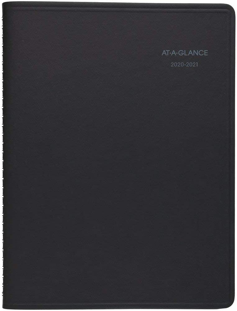 "Academic Planner 2020-2021, AT-A-GLANCE Weekly & Monthly Planner, 8"" x 10"", Large, QuickNotes, Black (761105)"