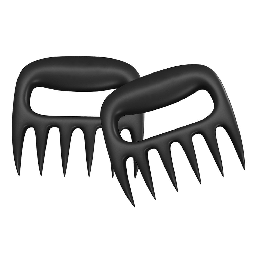 Pulled Shredder Food Claws - Easily Lift, Shredding Handling & Cut Food - Food Grade Safety Material | Dish Washer Safe | Easy Storage | Heat Resistant Nylon - BPA Free Barbecue Paws (Black) (Black)