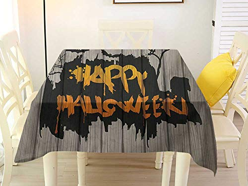 L'sWOW Square Tablecloth Farmhouse Halloween Happy Graffiti Style Lettering on Rustic Wooden Fence Scary Evil Holiday Artwork Multicolor Fitted 36 x 36 Inch -
