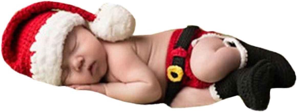 AKAAYUKO Bebé Recién Nacido Hecho A Mano Crochet Foto Fotografía Prop Papá Noel Sombrero Pañal Botas