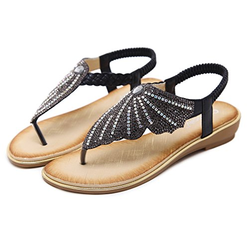 Meeshine Summer Comfort Bohemian Flat Black Shoes Womens Rhinestone Flop Flip Sandals Bprpqt