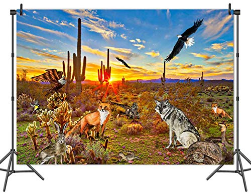 MMY 7x5FT Giant Cactus Sonoran Desert Plant Animals Backdrop Banner Fox Snake Iizard Background Adult Child Party Supplies Photo Booth Props